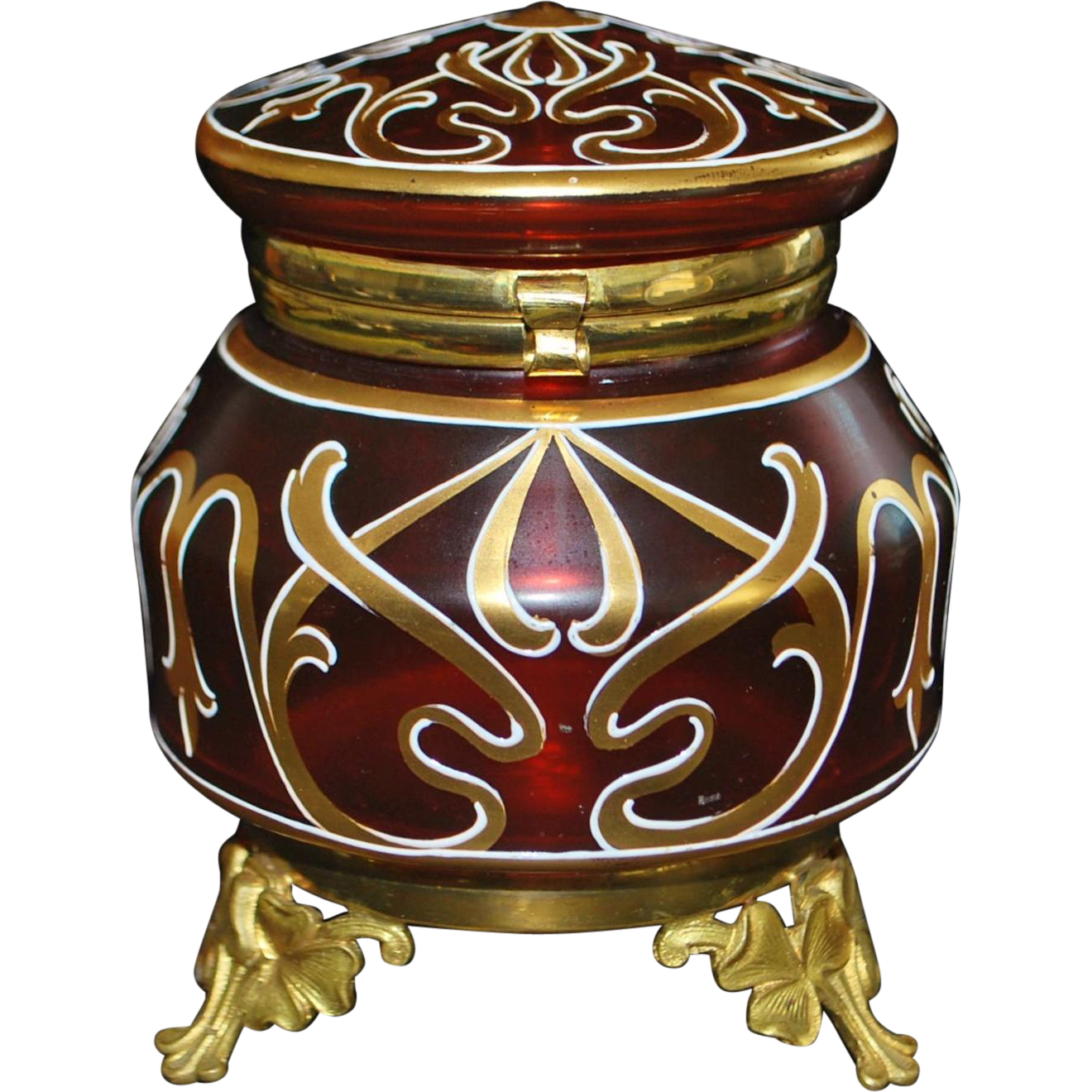 French Art Nouveau Ruby Red Gold Enamel Glass Table Box - 1900