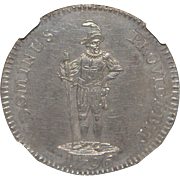 Swiss 1/2 Thaler Coin - 1796 - MS62 - Slabbed