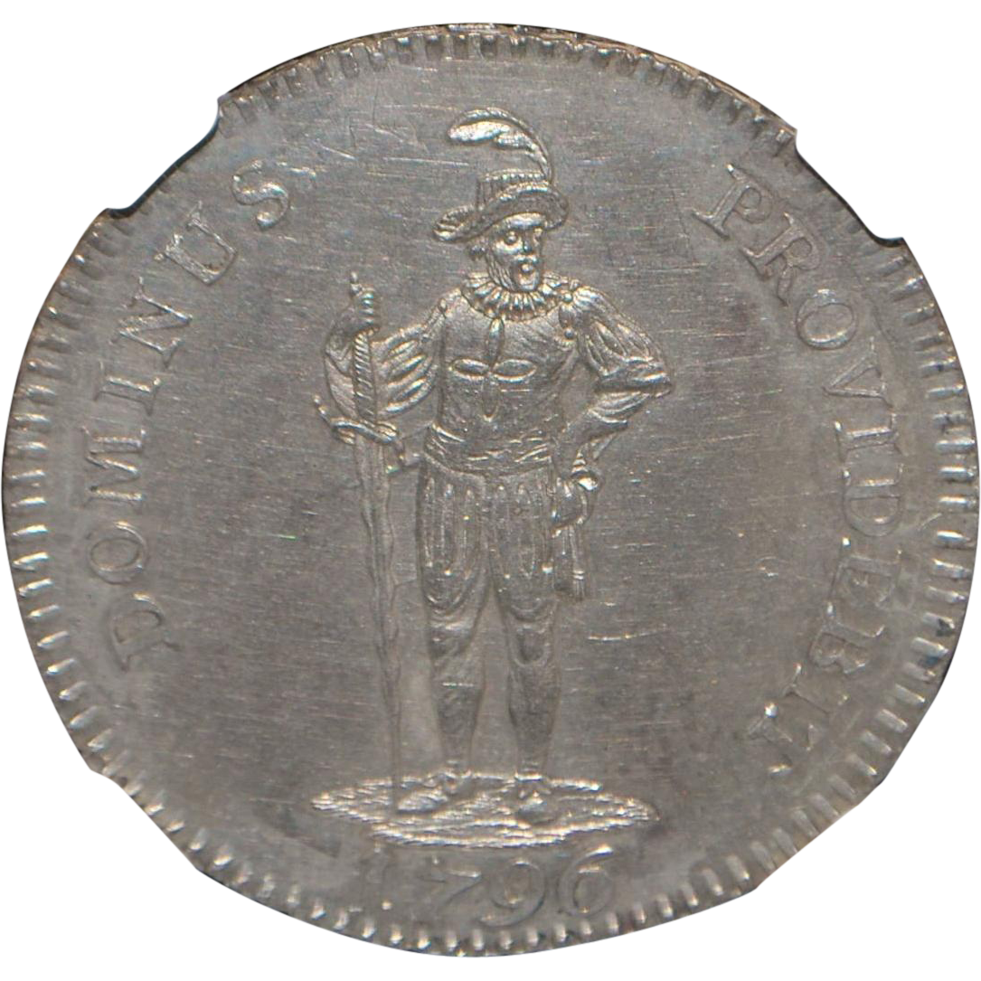 Swiss 1/2 Thaler Coin - 1796 - MS62 - Slabbed