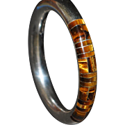 Large Mexican Inlaid Tiger Eye Stone and Sterling Silver Designer Bangle
