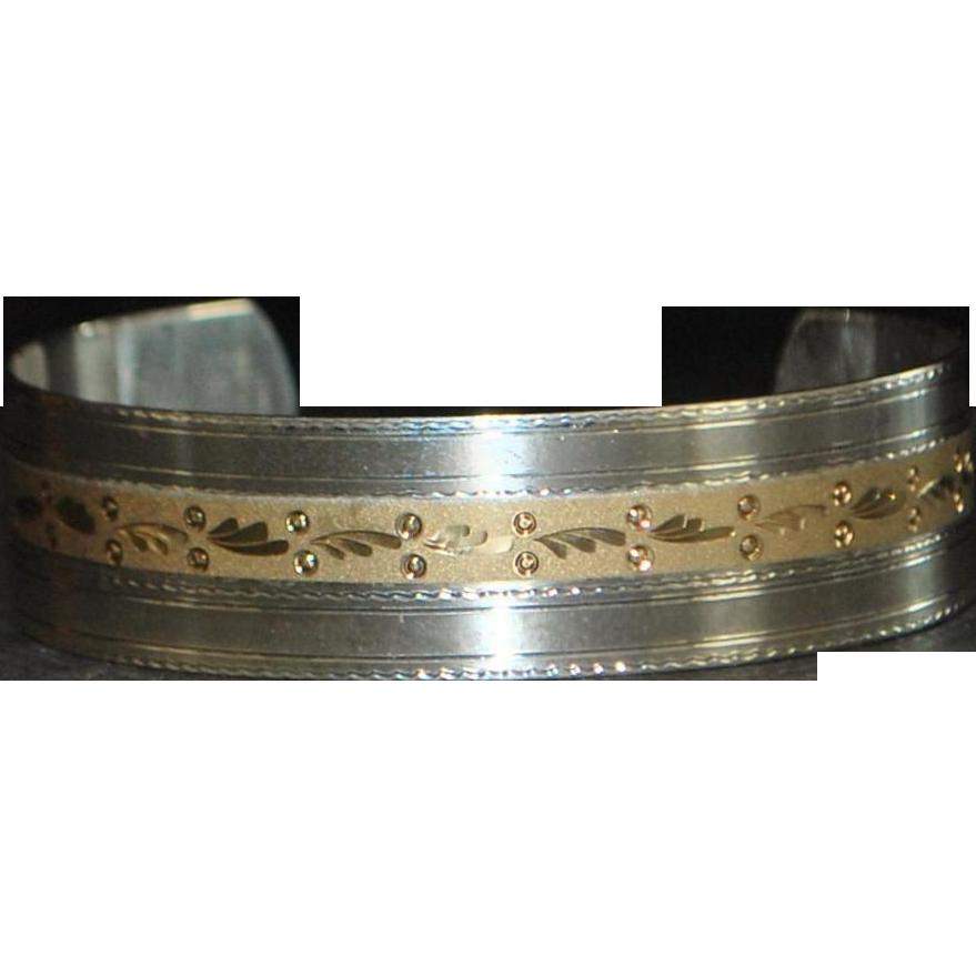 14K Gold and Sterling Silver Designer Cuff Bracelet.