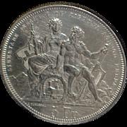 "Swiss 5 Franc ""Lugano"" Silver Coin - 1883 - AU"