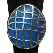 Sterling Silver and Blue Enamel Designer Ring - 1980's