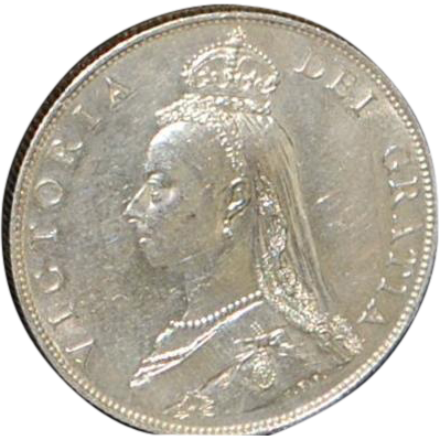 English Florin Silver Jubilee Head Coin - Uncirculated - 1887