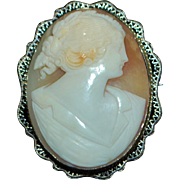 14k w/g Filigree Tri-color Shell Cameo Brooch - 1920's