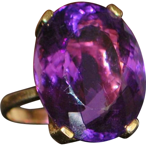 14k Large 25ct Amethyst Cocktail Ring - 1980's
