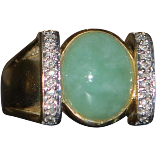 14k Green Jade and Diamond Ring - 1970's