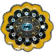 18K , Sterling Silver Enamel Filigree Brooch - 1920's