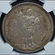 Large Swiss Silver Five Francs Coin - 1879 - AU55 - Slabbed
