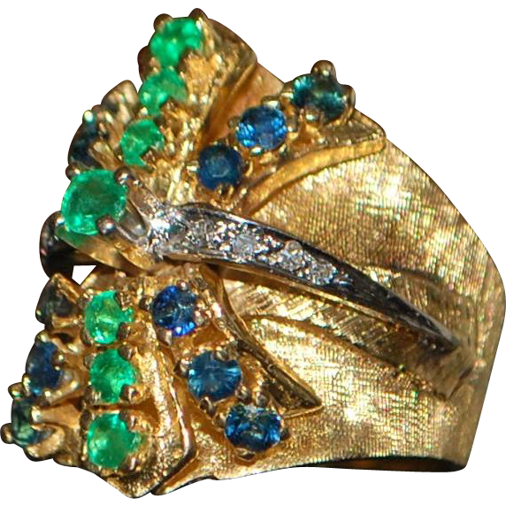 14K Heavy Emerald, Sapphire and Diamond Custom Cocktail Ring - 1960's