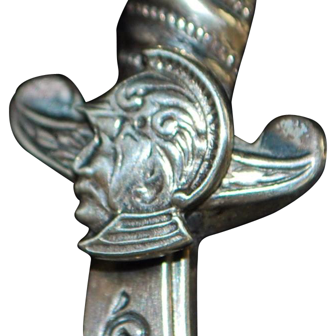 Fine Sterling Silver Sword Lapel Brooch - 1900