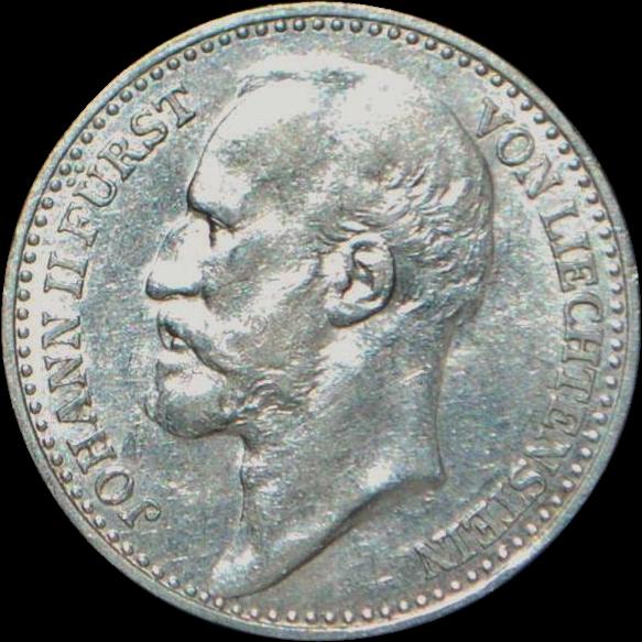Liechtenstein One Krone Silver Coin - 1904 - AU Details