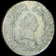 Austrian 20 Kruezer Silver Coin - 1810 - VF