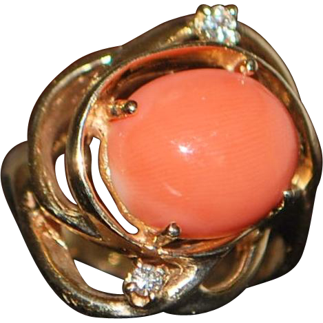 14K Angel Skin Coral and Diamond Ring - 1980's