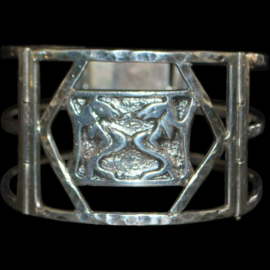 Custom Navajo Sterling Silver Bracelet - Signed