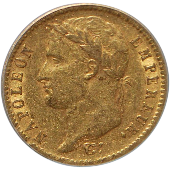 French Napoleon 20 Francs Gold Coin - 1811- A - AU50 - Slabbed