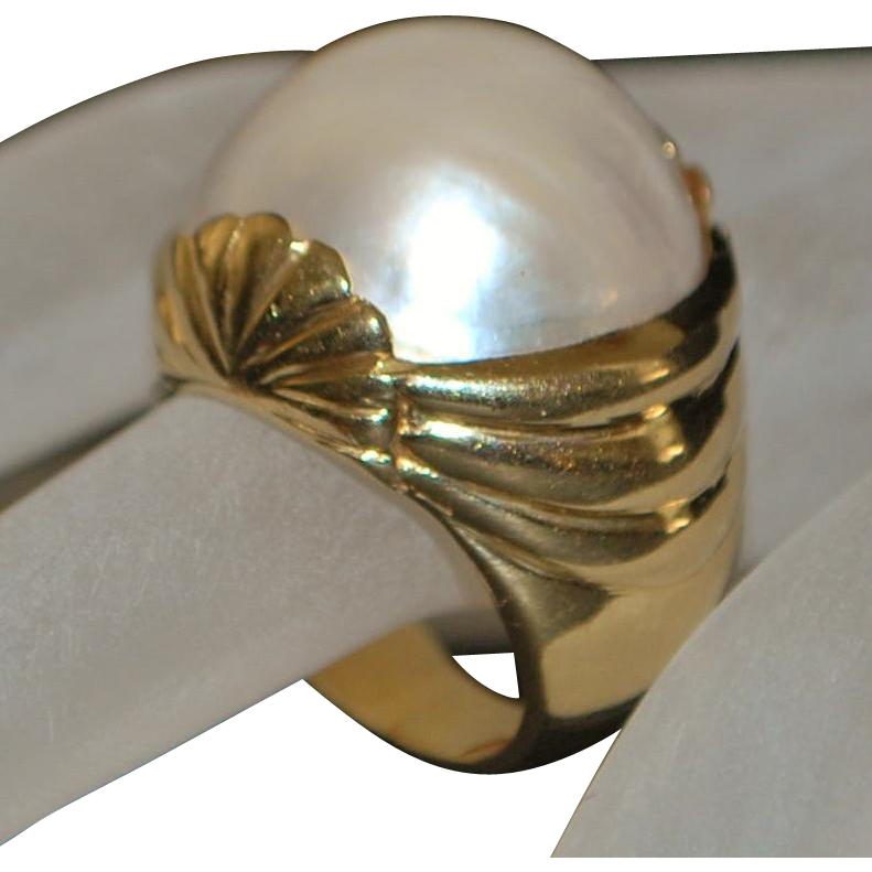 14k Large Mabe Pearl Custom Made Cocktail Ring - 1980's