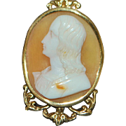 14K Italian Portrait Cameo Pendant with Gold Chain - Victorian