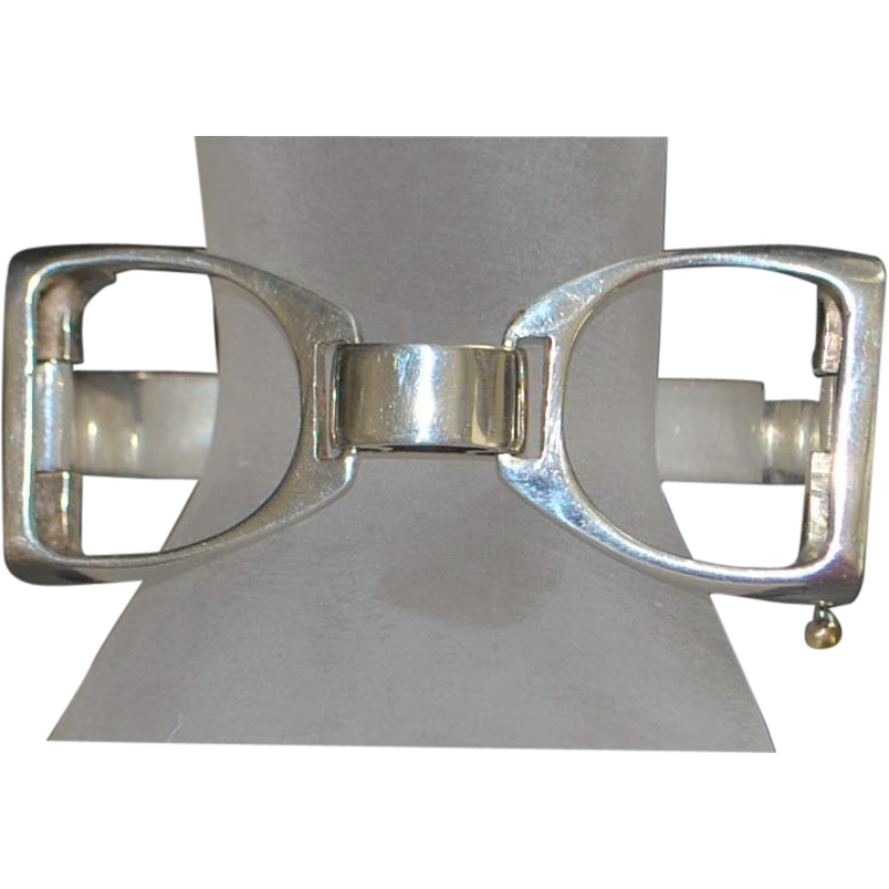 Heavy Sterling Silver and Enamel Stirrup Bracelet - 1980's