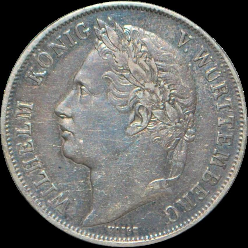 German States Wuttemberg Silver Gulden Coin - 1841 - AU details