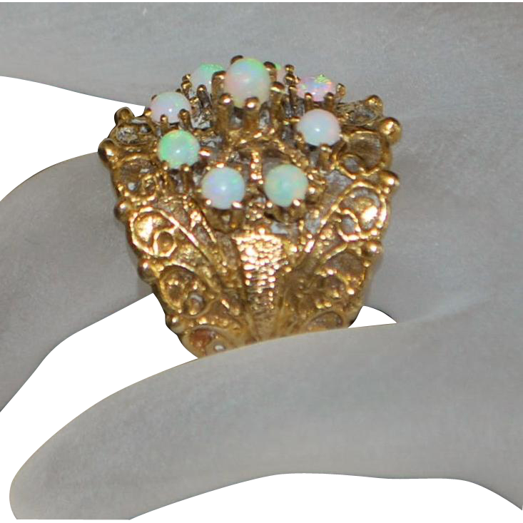 14k Large Etruscan Style Opal Cigar Band Ring - 1960's