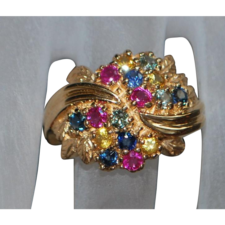 !4K Fancy Colorful Multi-colored Sapphire Ring - 1980's