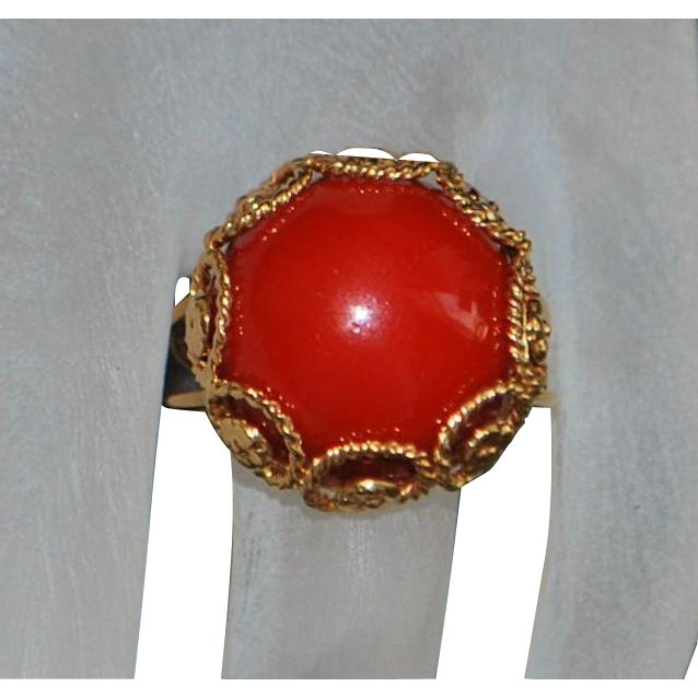 18K Greek Red Coral Custom Ring - 1970's
