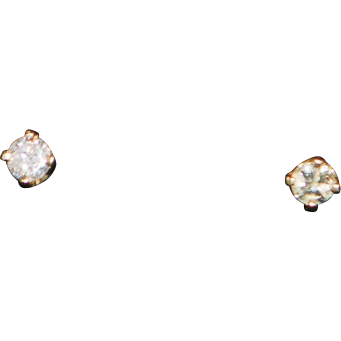 Pair of 14K Diamond Stud Earrings - 1980's