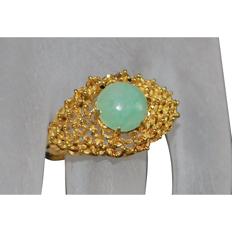 18K Filigree Custom Made Jade Ring - 1970's