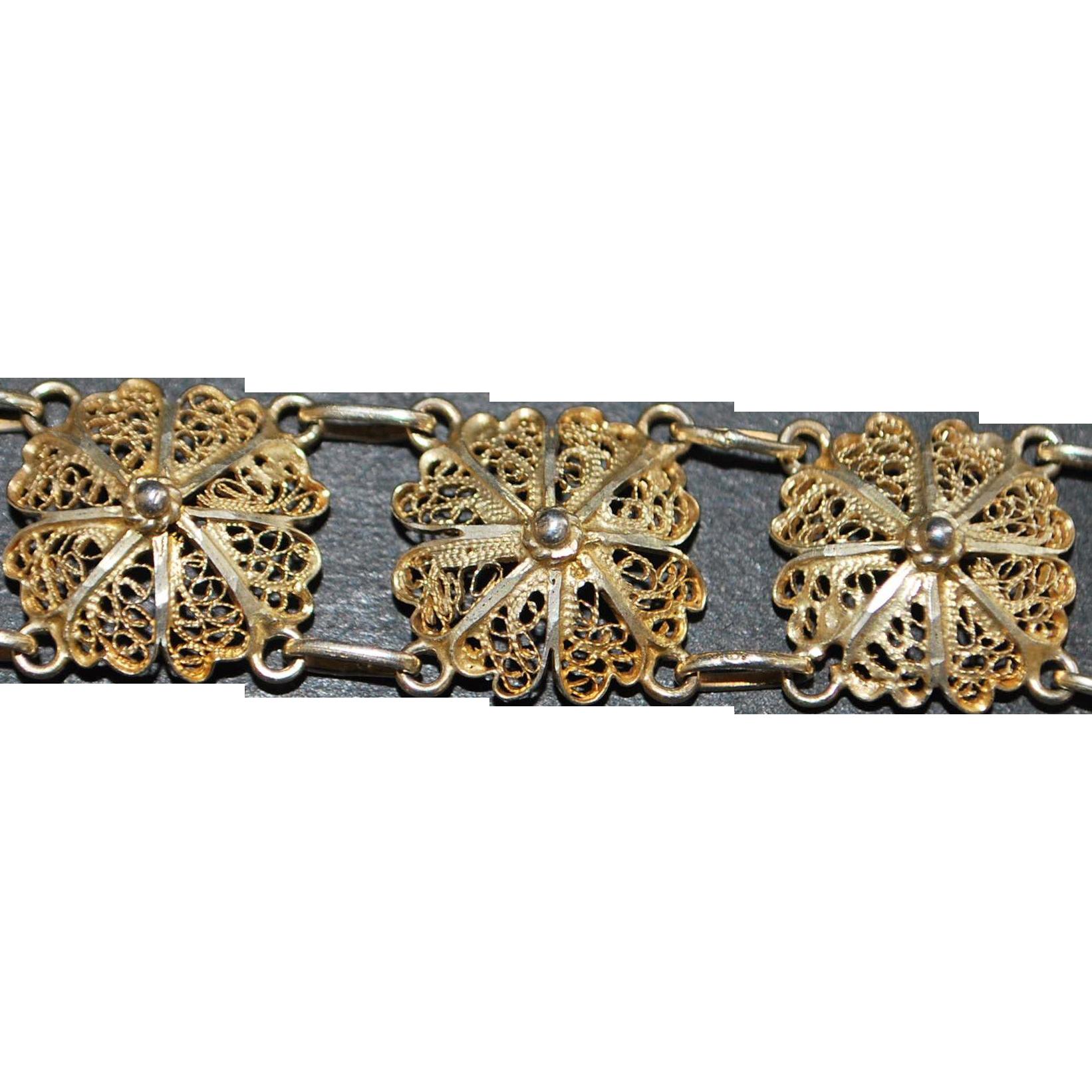 Sterling Silver Filigree Bracelet by Topazio - 1980's
