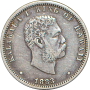 United States Hawaii 1/4 Dollar Silver Coin - 1883