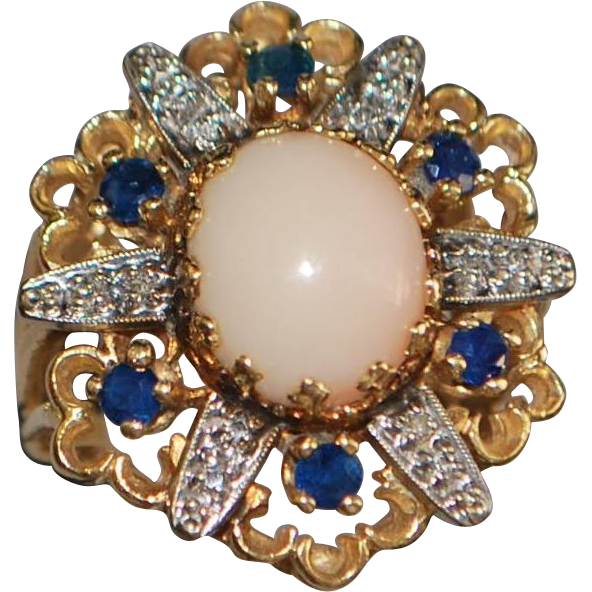 14K Large Angel Skin Coral, Blue Sapphire and Diamond Ring - 1980's