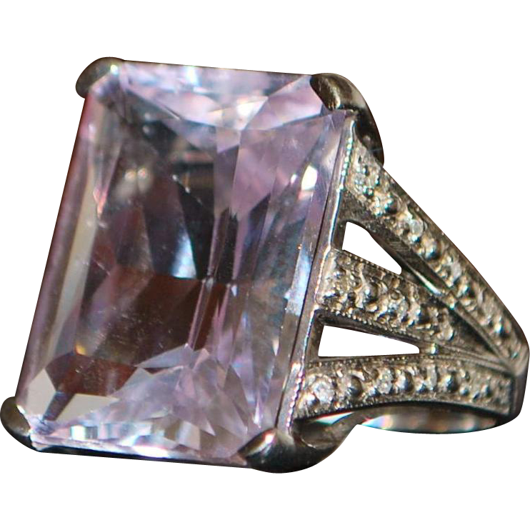 14K White Gold Large 12ct Pink Topaz and Diamond Ring - signed JCR