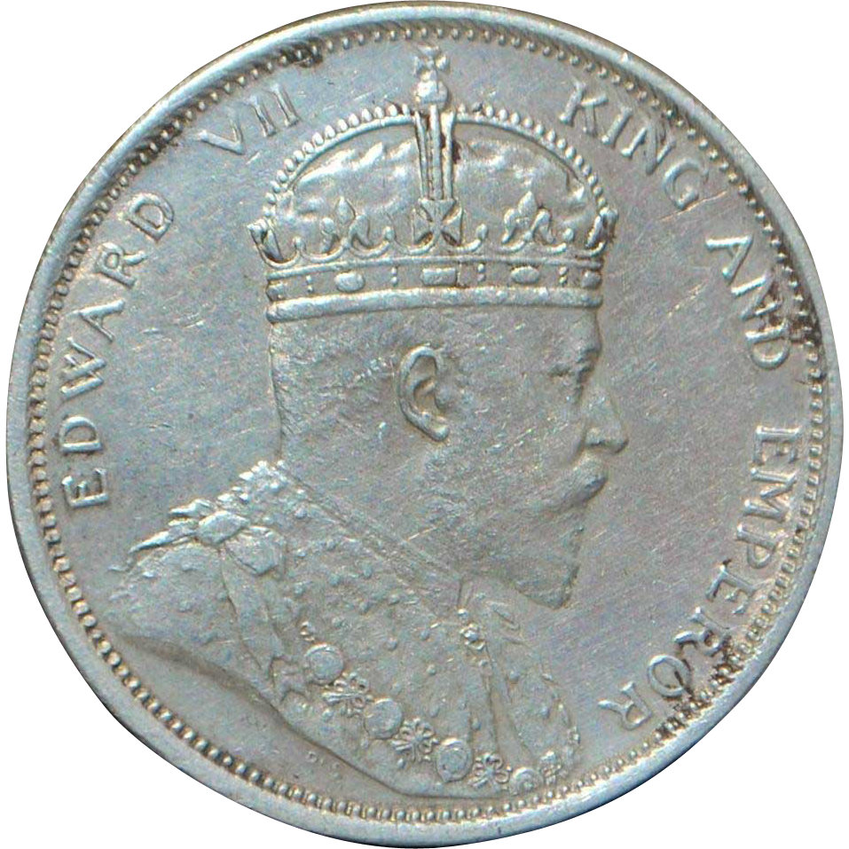 English Straits Settlement One Dollar Silver Coin - 1904 - B - AU Details