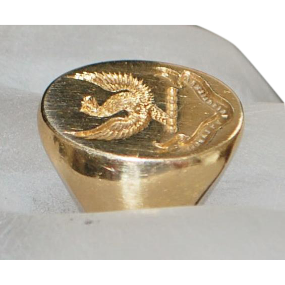 14K Engraved Crest Gold Signet Ring - 1920's