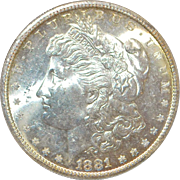 United States Morgan Dollar, 1881 -S, MS-62 - Slabbed