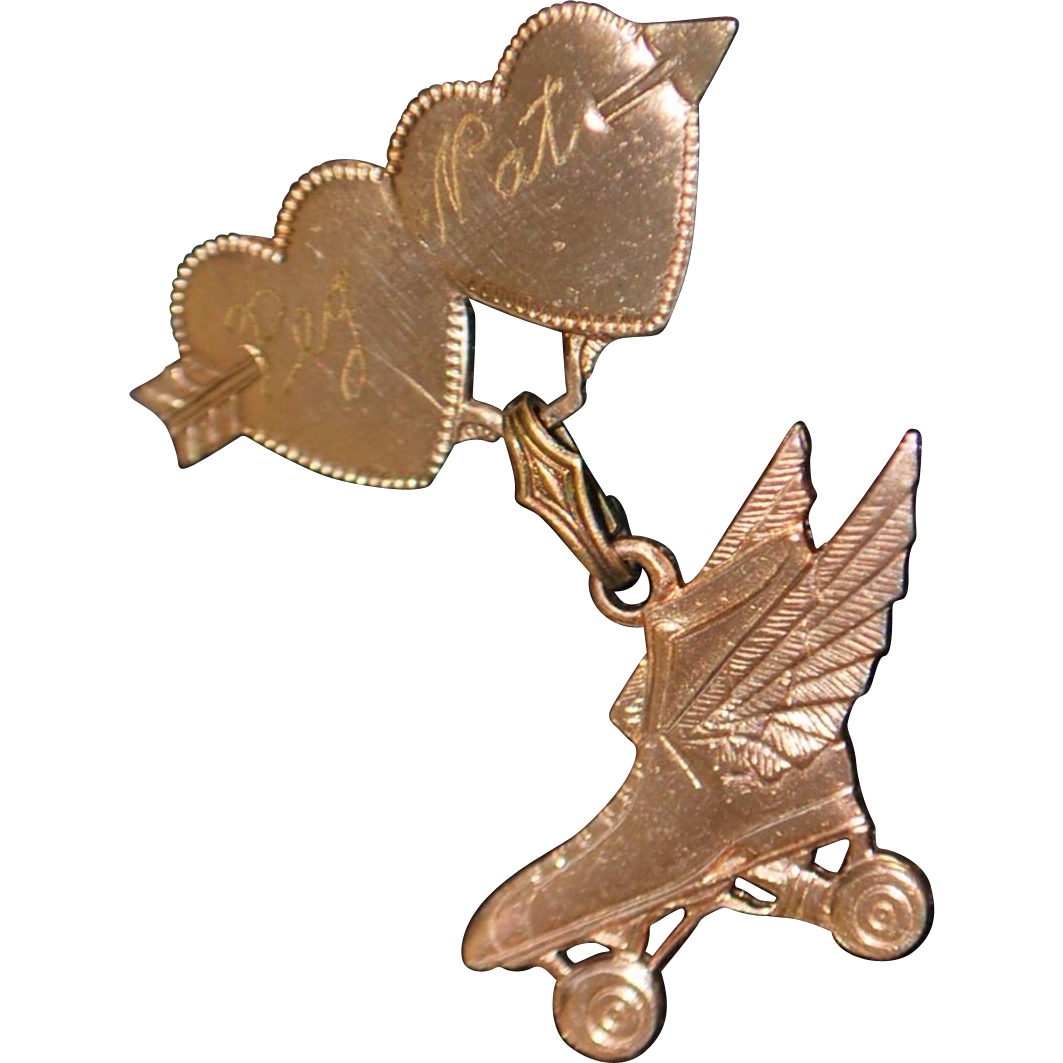 Charming Rose Gold Plate Winged Roller Skate Lover's Pin - 1940's