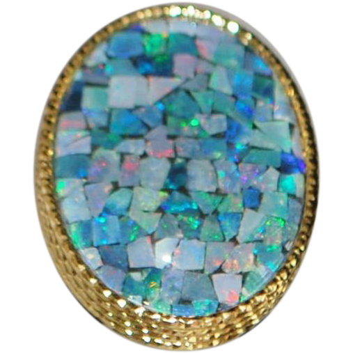 14k Large Italian Opal Matrix Cocktail ring - 1980's