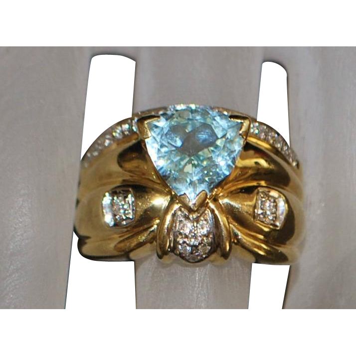 14K Heavy Trillion Cut Aquamarine and Diamond Ring - 1980's