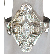 Platinum Art Deco Diamond Filigree Ring - 1930's