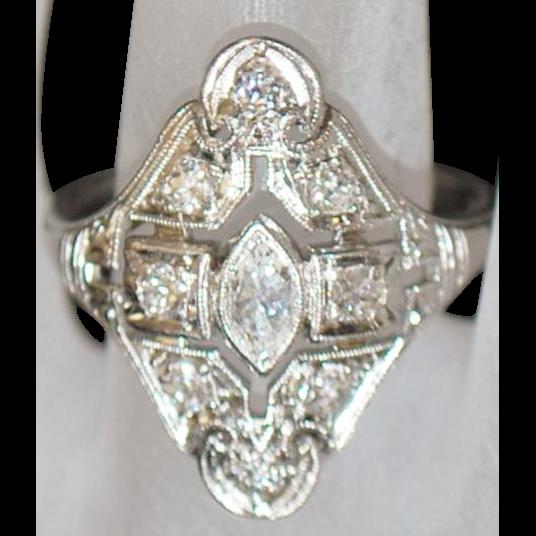 Platinum Art Deco Diamond Filigree Ring - 1930's