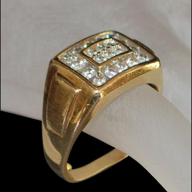 14K Man's Diamond Ring- 1970's
