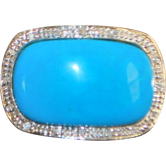 14K Large Sky Blue Turquoise and Diamond Ring - 1980's