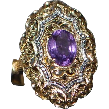 14K y/g Amethyst Filigree Ring - 1920's