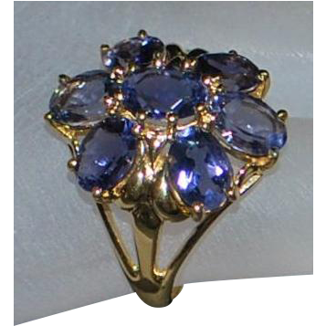14K Large Tanzanite Cluster Ring