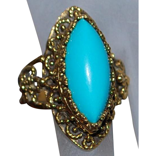 14k Large Marquise Turquoise Ring - 1960's