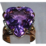14k Tri-Colored Large Heart Shaped Amethyst Ring - 1970's