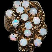 14k Custom Made Opal Cluster Ring - 1970's