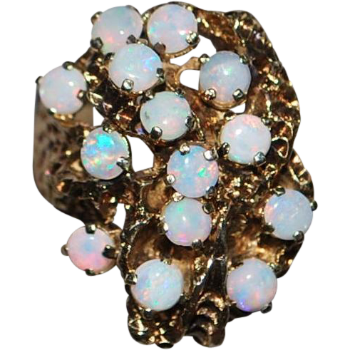 14k Custom Made Opal Cluster Ring - 1970's