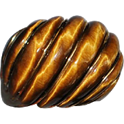 Large 14K High Dome Tiger Eye Cocktail Ring - 1980's